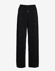 Wide Leg Snap Pants W/ Logo - 999 BLACK