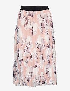 Orchid Print Pleated Skirt - PINK ORCHID PRI