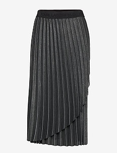 Metallic Pleated Skirt - GUNMETAL