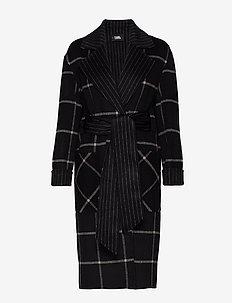 Double Face Wrap Coat - BLACK/GRAY