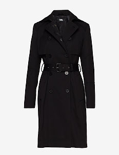 Trench Coat W/ Logo - BLACK