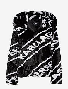 Faux Fur Jacket W/ Logo - BLACK/WHITE