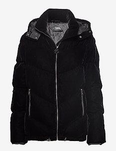 Velvet Down Jacket W/ Hood - BLACK