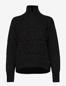 Soutache Detail Sweater - BLACK