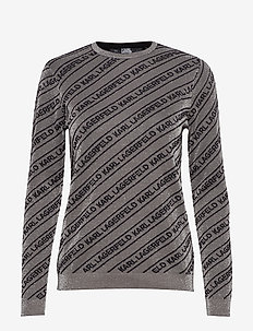 Logo Lurex Sweater - GUN METAL