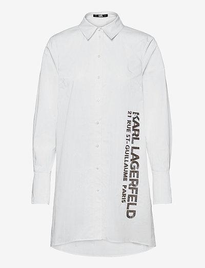 embellished poplin tunic shirt - tunikaer - white