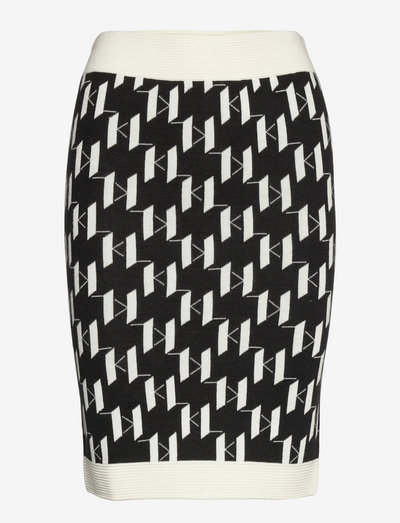 Kl Monogram Knit Skirt - midinederdele - black