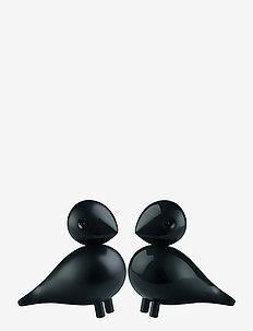 Turtelduer 1 par - træfigurer - black