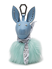 BAMBI - PLACID BLUE TEXTURED LEATHER-BAY FAUX FUR-WHITE BANDANA