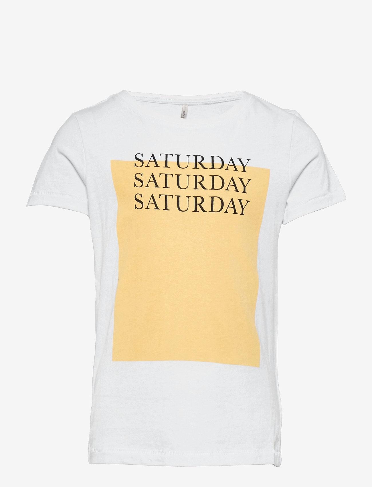 Kids Only - KONWEEKDAY LIFE REG S/S BOX TOP JRS - t-shirts - bright white - 0