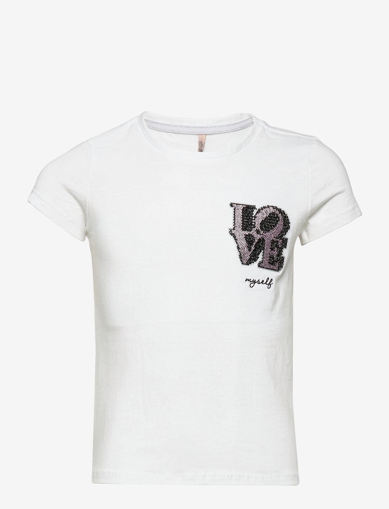 Kids Only - KONKITA LIFE REG S/S TOP CAMERA/LOVE JRS - t-shirts - bright white - 0