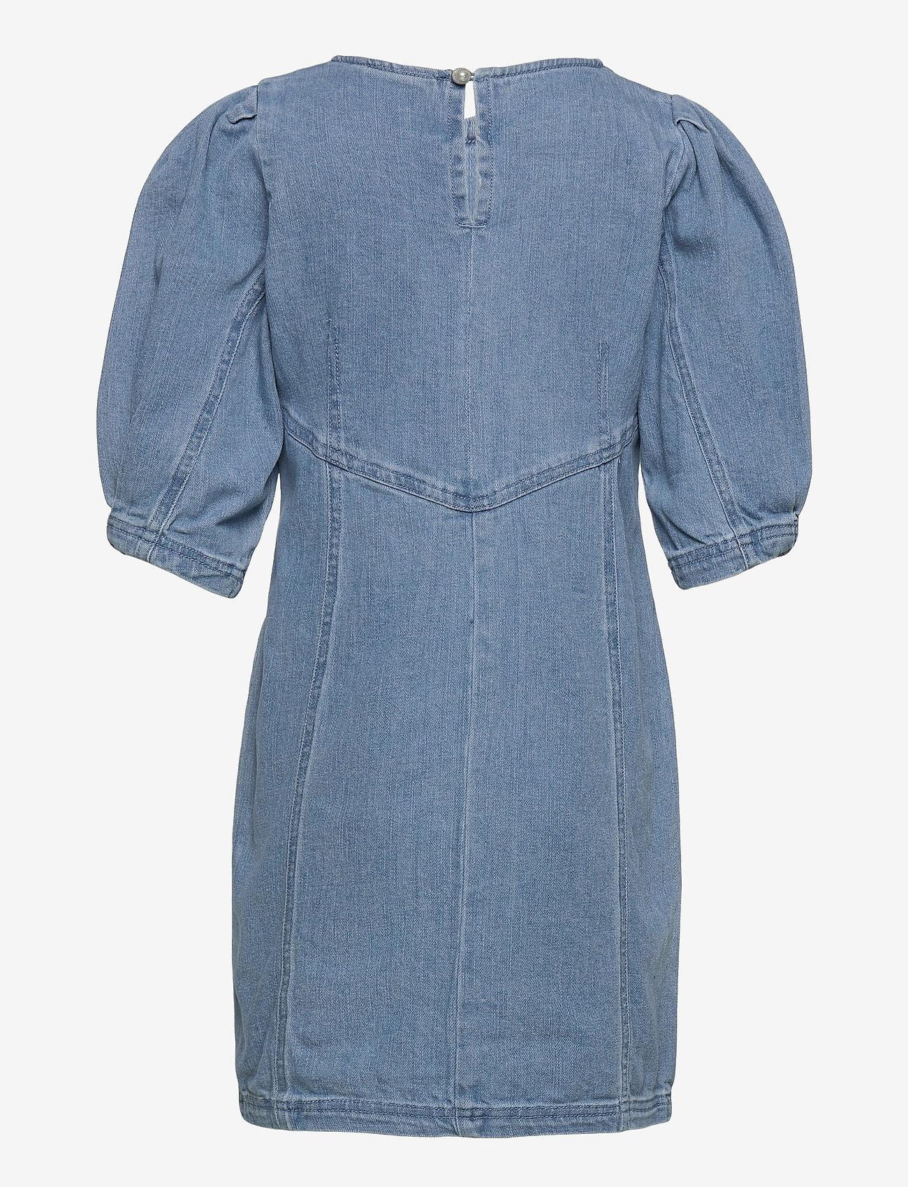 Kids Only - KONALVA LIFE 3/4 PUFF DRESS DNM - kleider - medium blue denim - 1