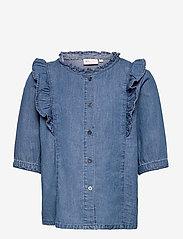 Kids Only - KONPEMA DNM SS  FRILL SHIRT - hemden - medium blue denim - 0