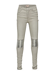 konVIGGA BIKER SEQUINS JEANS - WHITE DENIM