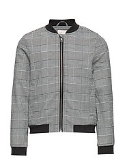 KONPOPTRASH SOFT CHECK BOMBER JACKET - MEDIUM GREY MELANGE