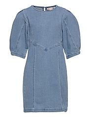KONALVA LIFE 3/4 PUFF DRESS DNM - MEDIUM BLUE DENIM