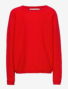 KONLEAH L/S BATWING PULLOVER CP KNT - FIERY RED