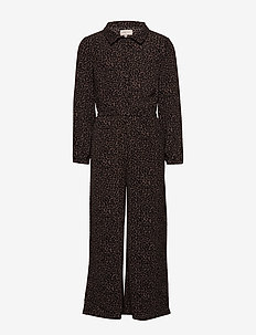 KONCOCO L/S CROPPED JUMPSUIT WVN - BITTER CHOCOLATE