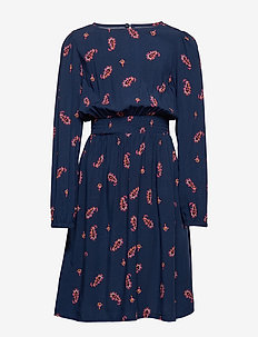 KONROSA  L/S SMOCK DRESS WVN - PEACOAT