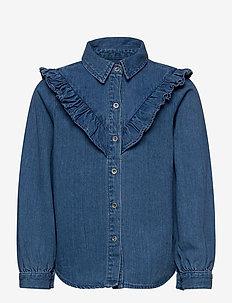 KONALLISON DNM FRILL SHIRT - koszule - medium blue denim
