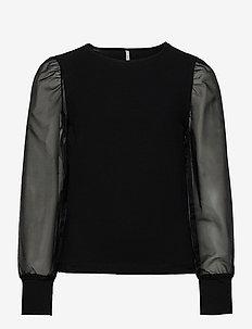KONNARA LIFE L/S ORGANZA TOP JRS - bluzki i tuniki - black