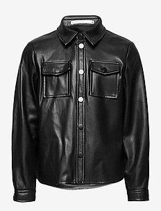 KONBRYLEE-DION FAUX LEATHER SHIRT CS PNT - koszule - black
