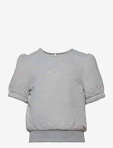 KONMEDINA 2/4 PUFF TOP SWT - kurzärmelige - light grey melange
