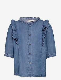 KONPEMA DNM SS  FRILL SHIRT - hemden - medium blue denim