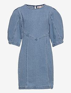 KONALVA LIFE 3/4 PUFF DRESS DNM - kleider - medium blue denim