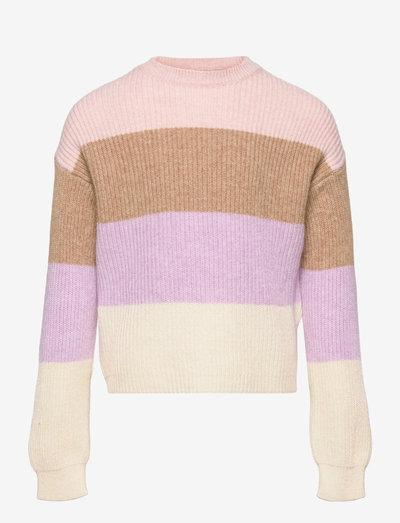 KONSANDY L/S STRIPE PULLOVER CP KNT - pullover - sepia rose