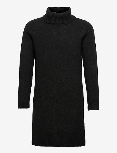 KONBRANDIE L/S ROLL NECK DRESS CS KNT - kleider - black