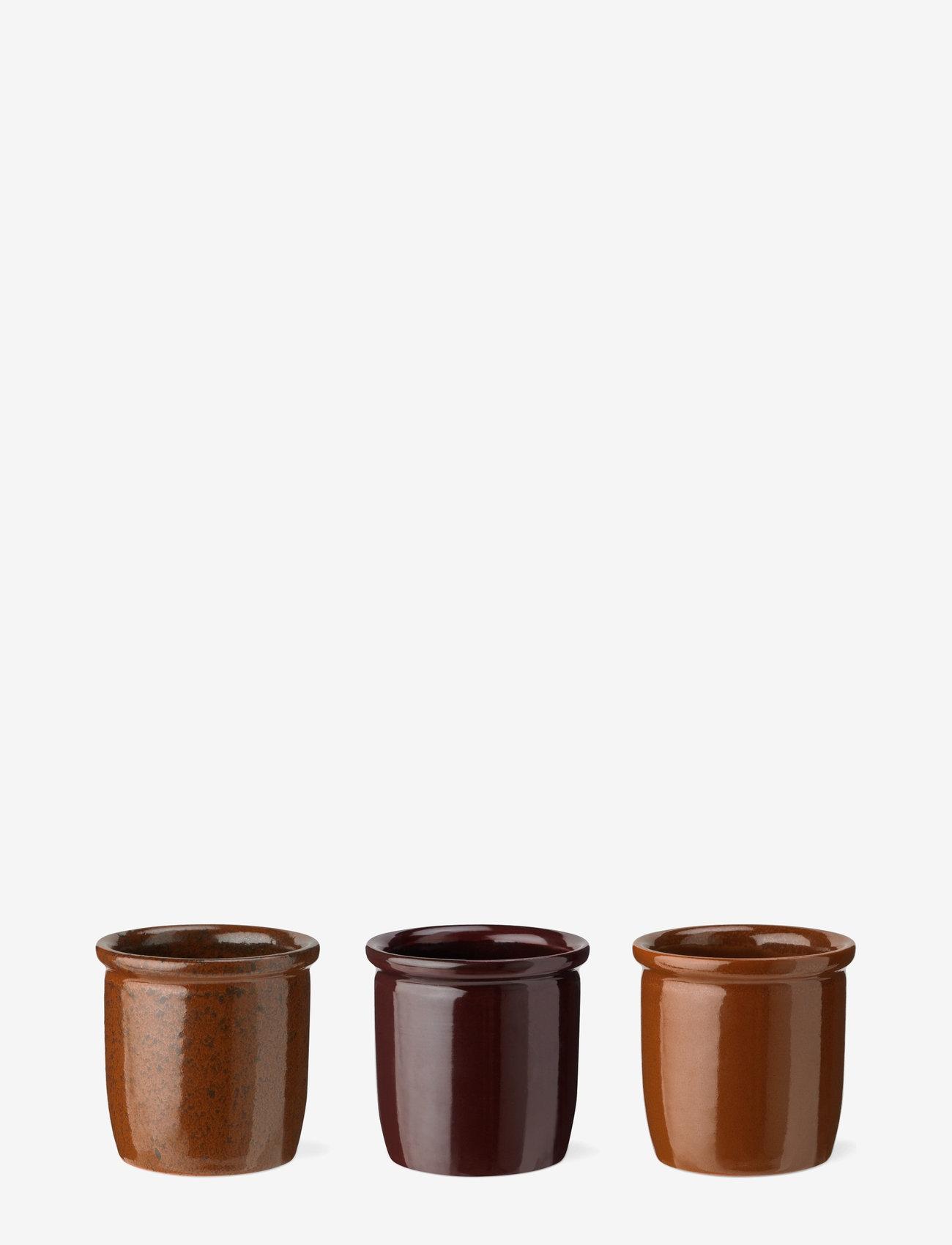 Knabstrup Keramik - Pickle jar, 3-pack - kulhot & tarjoiluastiat - light brown, brown, bordeaux - 0