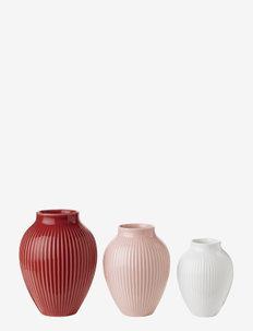 Knabstrup vase with ridges, 3-pack - maljakot - bordeaux, rose, white