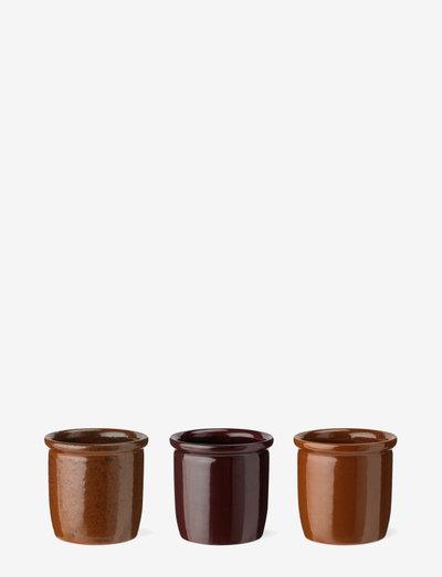 Pickle jar, 3-pack - keittiöpurkit - light brown, brown, bordeaux