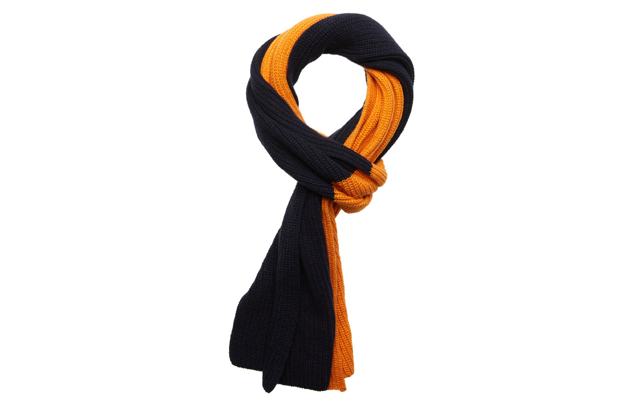 Knowledge Cotton Apparel Two colored scarf - GOTS - PERSIMMON ORANGE