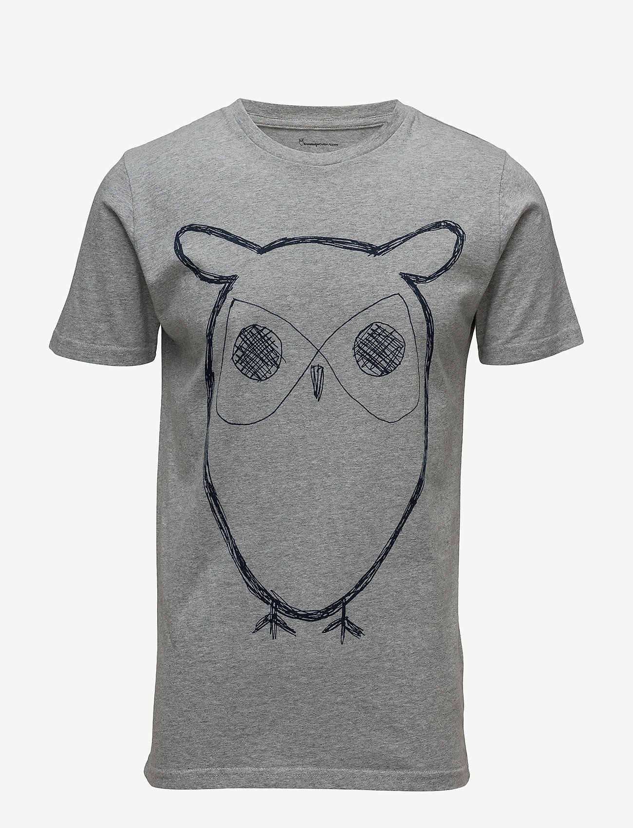 Knowledge Cotton Apparel - ALDER big owl tee - GOTS/Vegan - krótki rękaw - grey melange