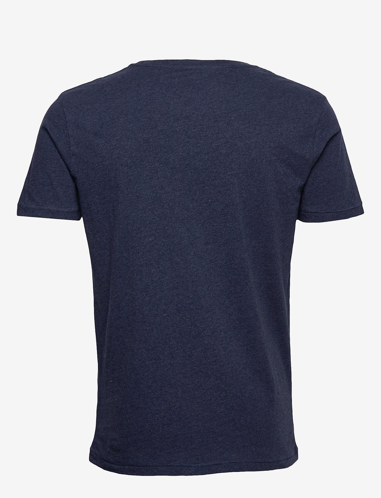 Knowledge Cotton Apparel - ALDER basic chest pocket tee - GOTS - basic t-krekli - insigna blue melange - 1