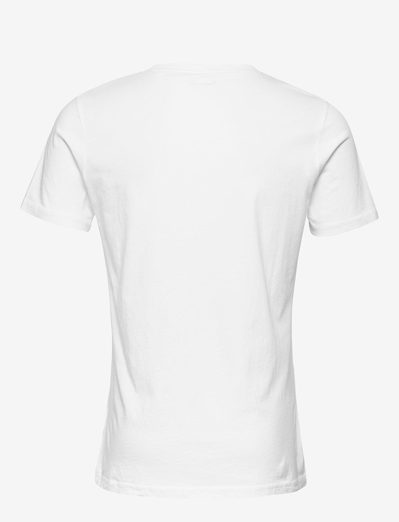 Knowledge Cotton Apparel O-neck t-shirt with chest print - G - T-skjorter BRIGHT WHITE - Menn Klær