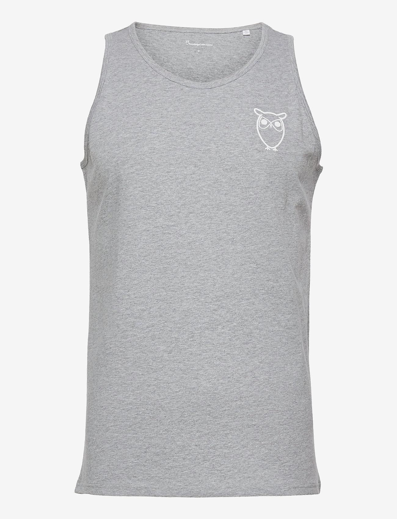 Knowledge Cotton Apparel - PALM owl chest tank top - GOTS/Vega - bez rękawa - grey melange - 0