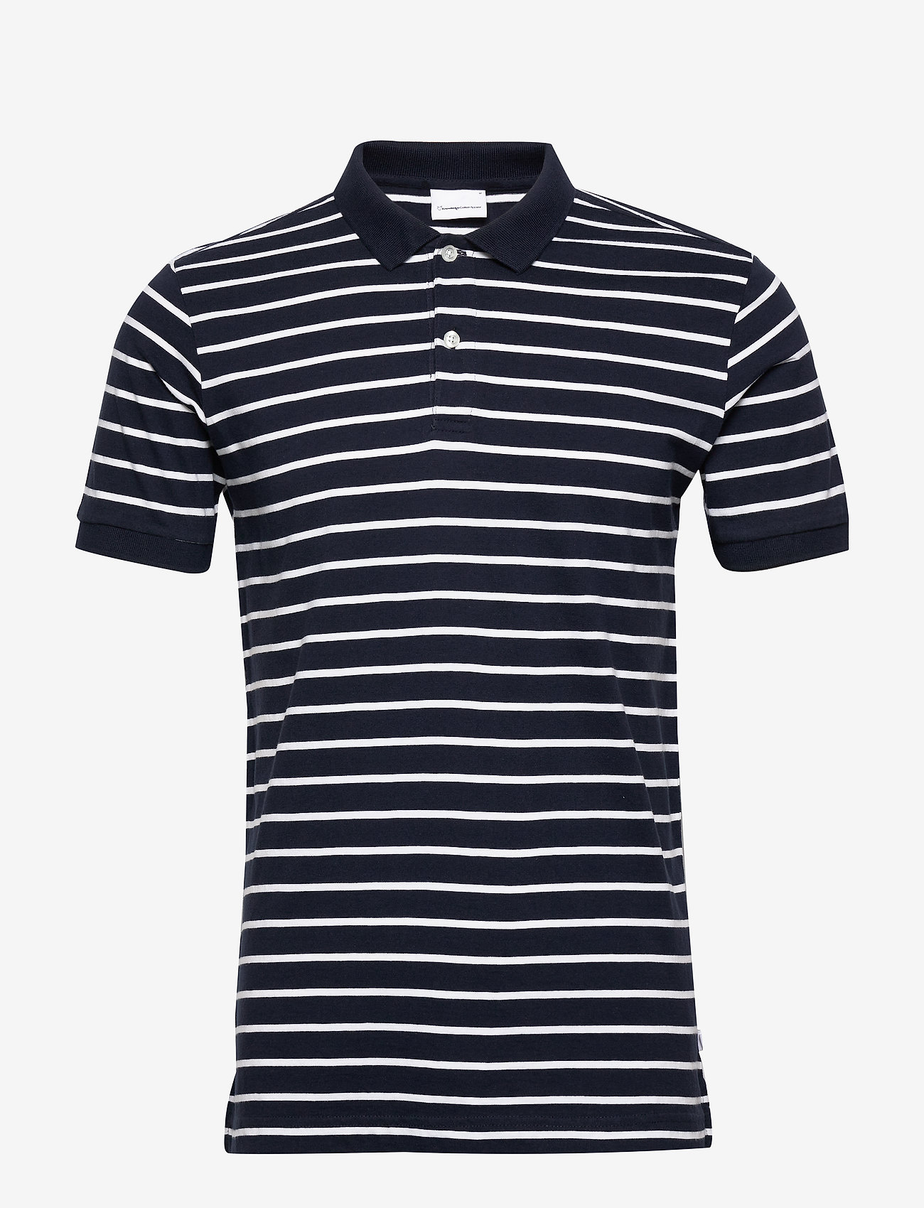 Knowledge Cotton Apparel - ROWAN striped polo - GOTS/Vegan - lyhythihaiset - total eclipse - 0