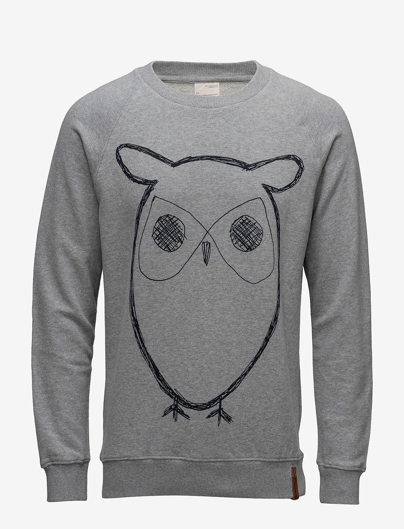 Knowledge Cotton Apparel - ELM big owl sweat - GOTS/Vegan - sweats - grey melange - 0