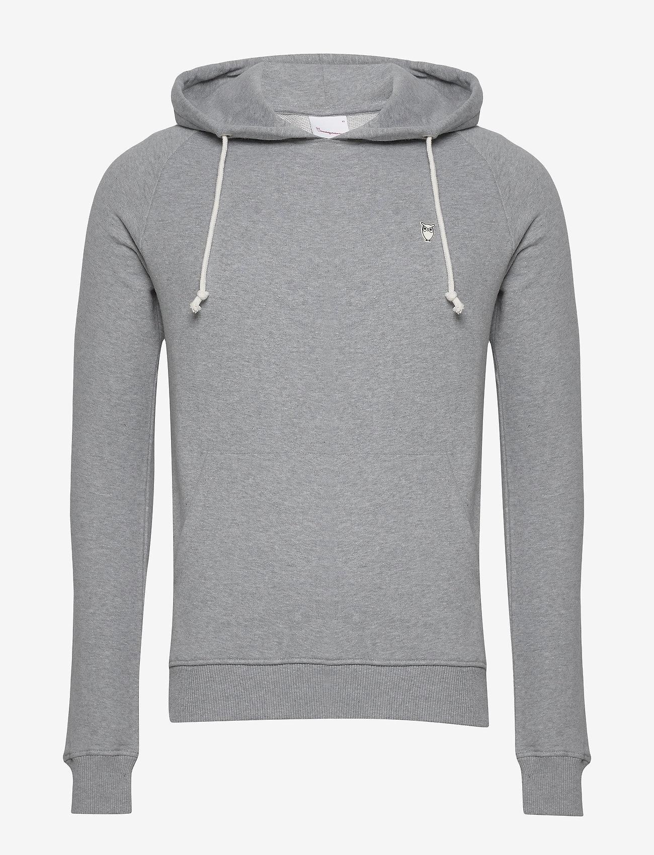 Knowledge Cotton Apparel - ELM small owl hoodie sweat - GOTS/V - basic sweatshirts - grey melange