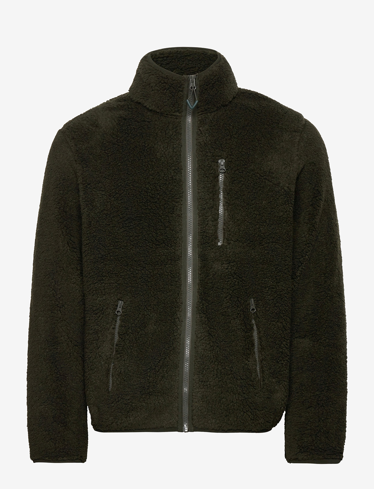Knowledge Cotton Apparel - ELM zip teddy fleece sweat - Vegan - basic-sweatshirts - forrest night - 0