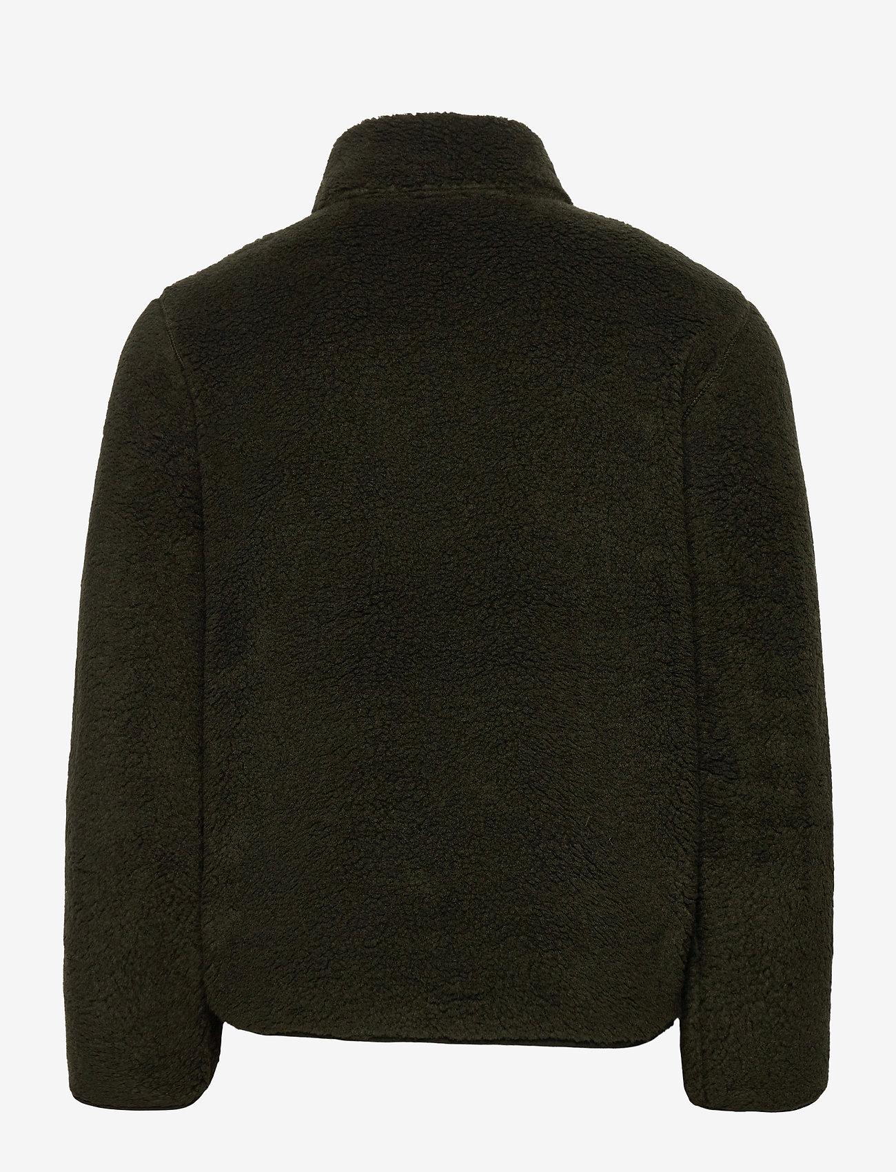 Knowledge Cotton Apparel - ELM zip teddy fleece sweat - Vegan - basic-sweatshirts - forrest night - 1