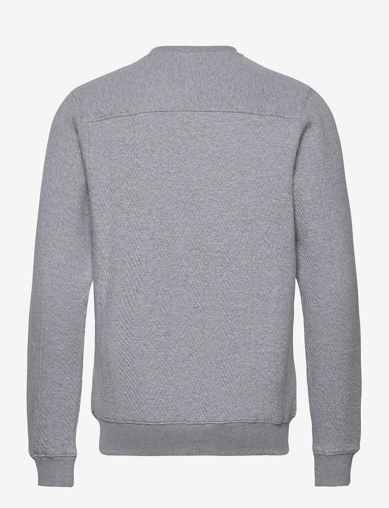 Knowledge Cotton Apparel ELM quilted cardigan - OCS/Vegan - Strikkevarer GREY MELANGE - Menn Klær