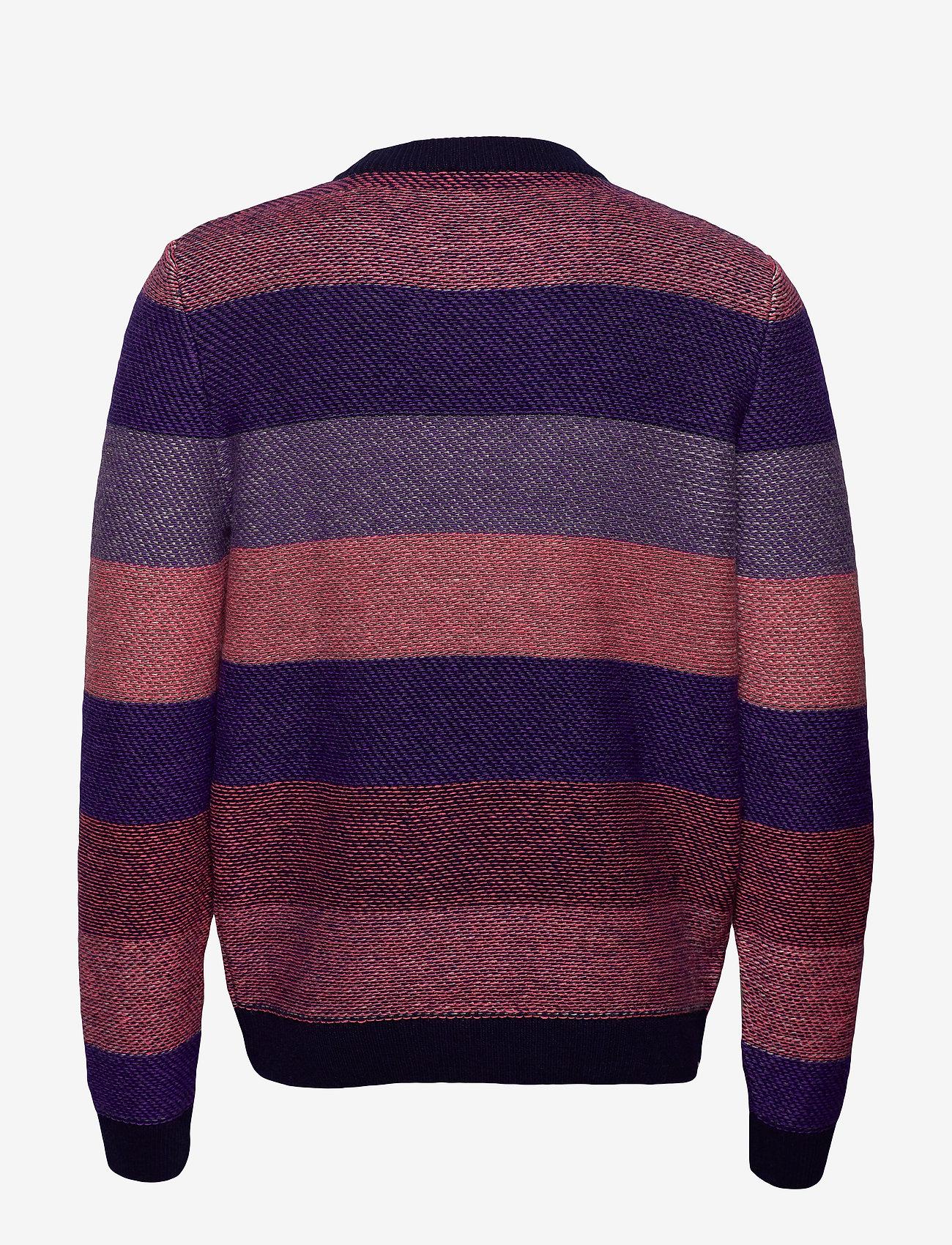 Multi Colored Striped O-neck Knit - (Total Eclipse) - Knowledge Cotton Apparel tteGrx