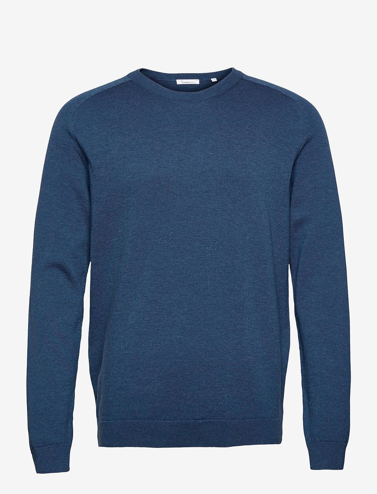 Knowledge Cotton Apparel - FIELD O-neck long stable cotton kni - podstawowa odzież z dzianiny - dark denim - 0