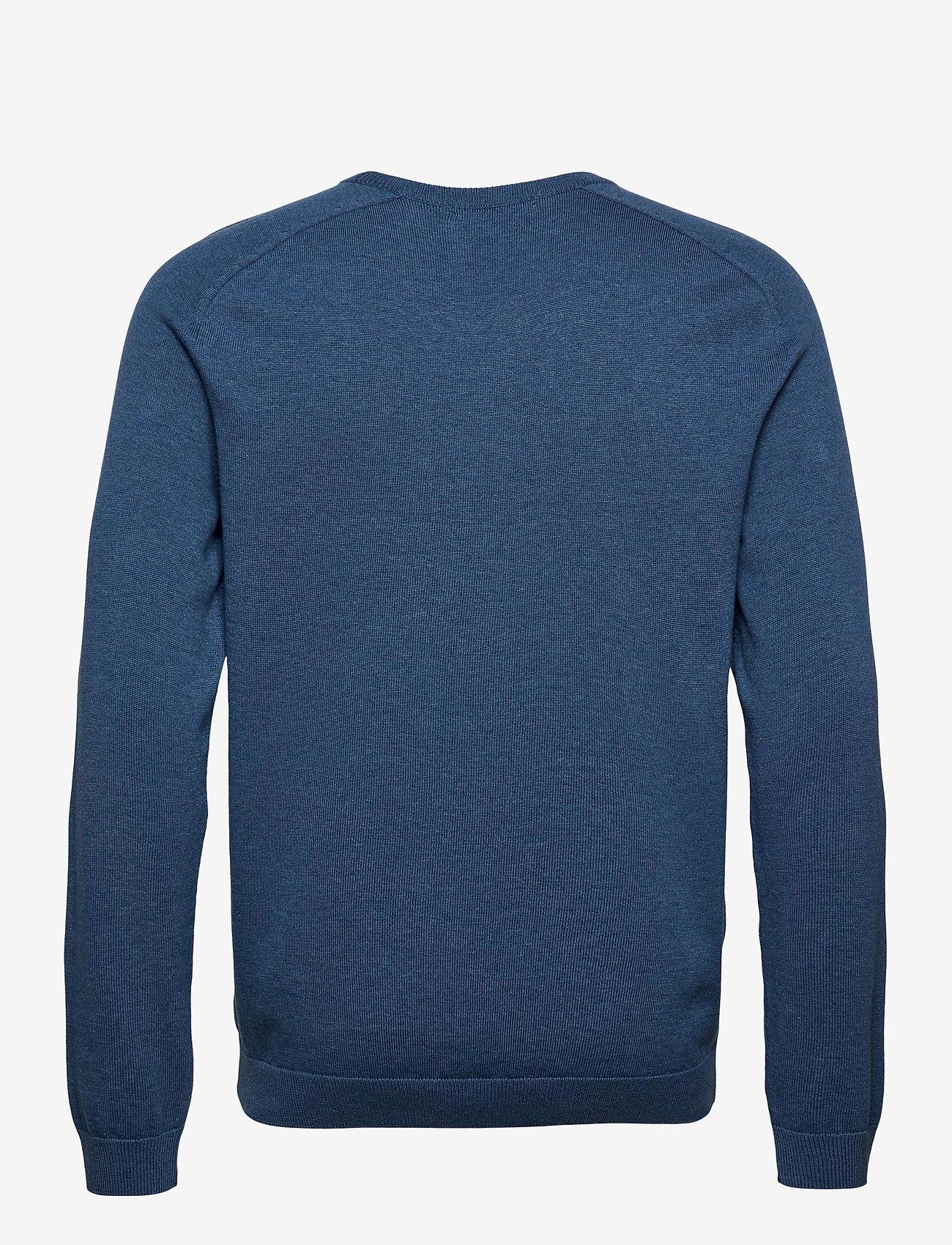 Knowledge Cotton Apparel - FIELD O-neck long stable cotton kni - podstawowa odzież z dzianiny - dark denim - 1