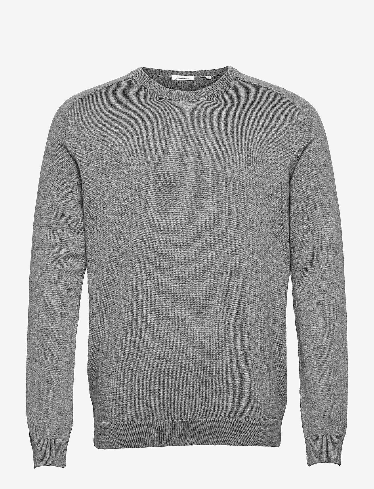 Knowledge Cotton Apparel - FIELD O-neck long stable cotton kni - podstawowa odzież z dzianiny - grey melange - 0