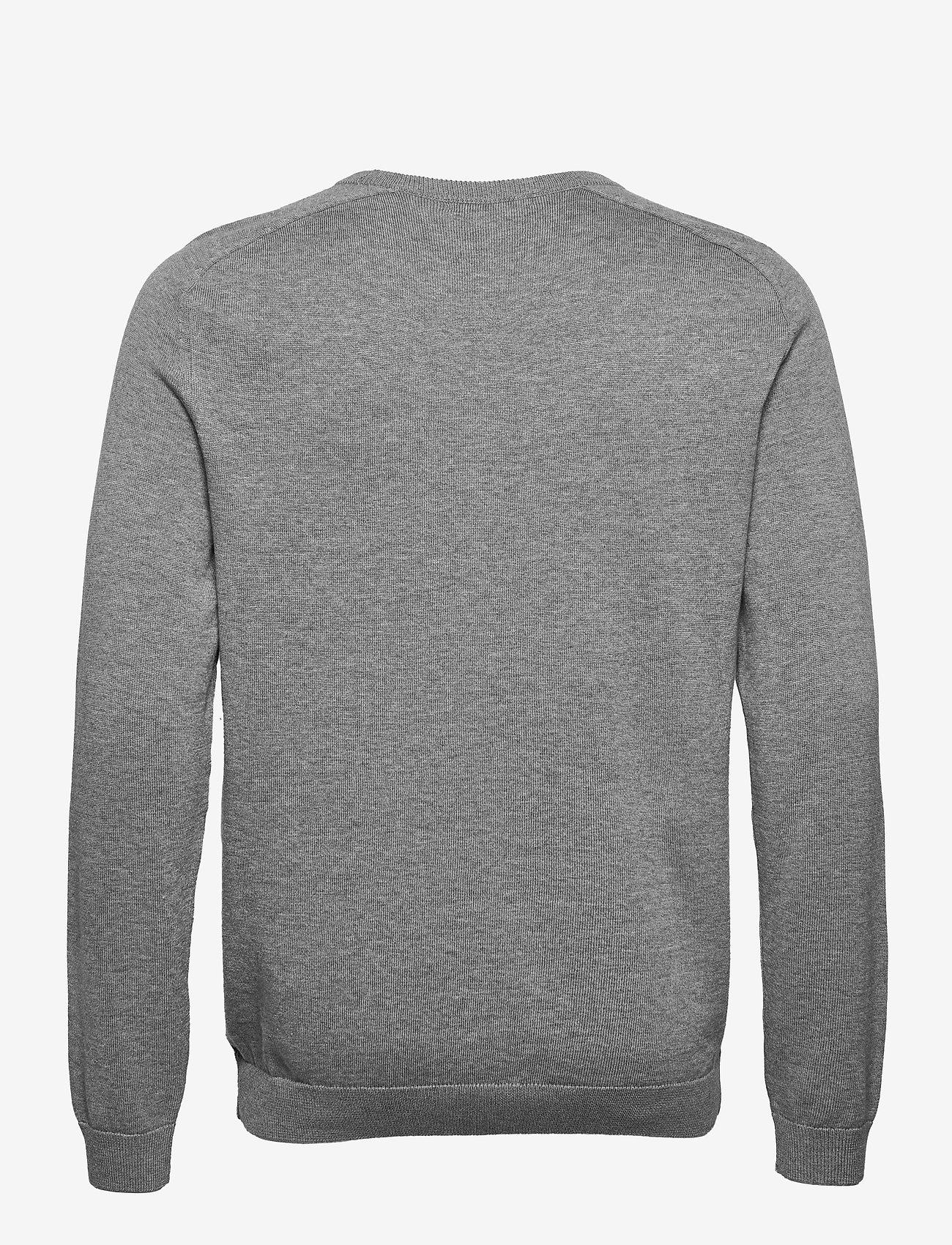 Knowledge Cotton Apparel - FIELD O-neck long stable cotton kni - podstawowa odzież z dzianiny - grey melange - 1